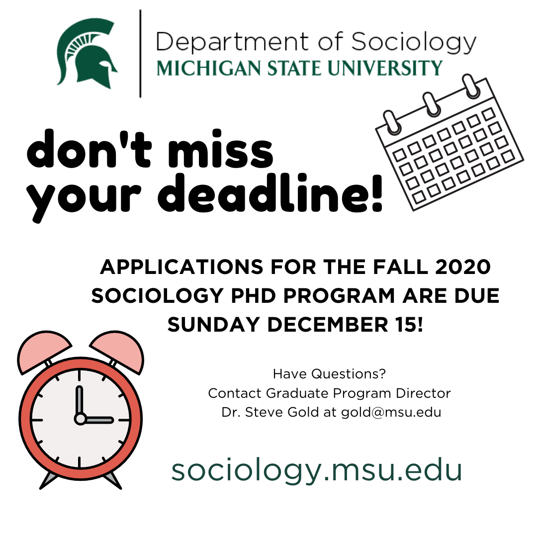 Sociology PhD Applications are due Dec. 15